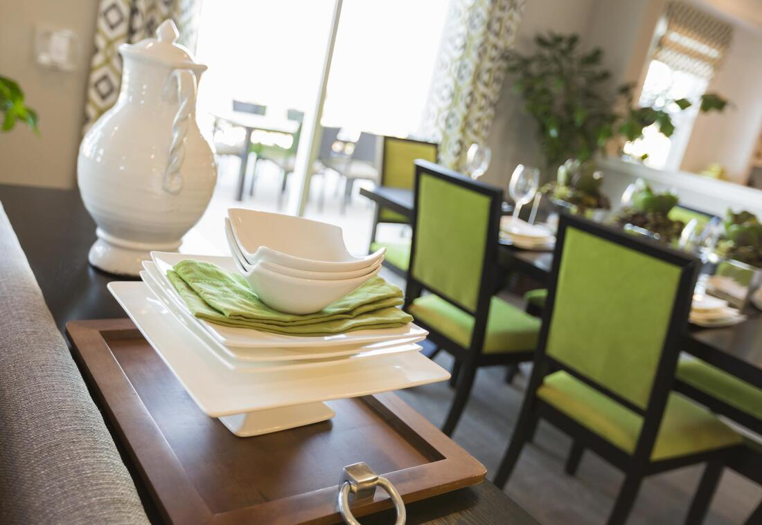 dinning table with green chair